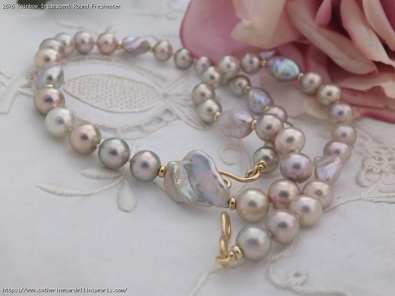 "Fleuri 8 mm Chocolat Naturel South Sea Shell Pearl Round Necklace 35/"" PN1141"